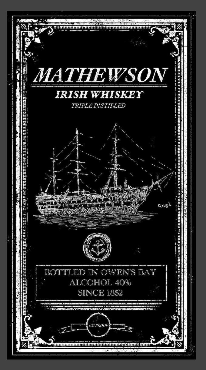 Whiskey Label inspired sticker designed by Rolands Kalnins