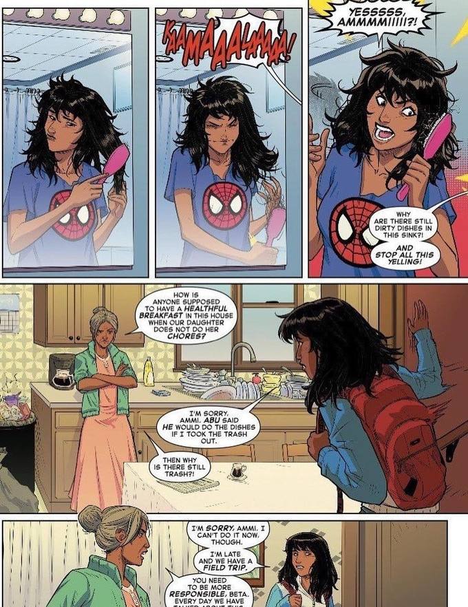 From Marvel Comics : Spider-Man + Ms. Marvel ! Art by Joey Vazquez