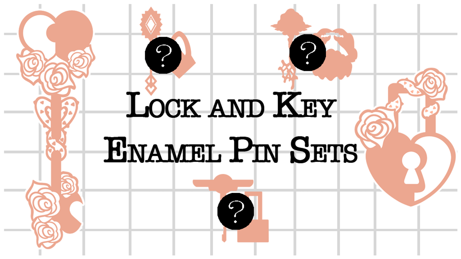 A series of 4 lock and key enamel pins released in pairs.