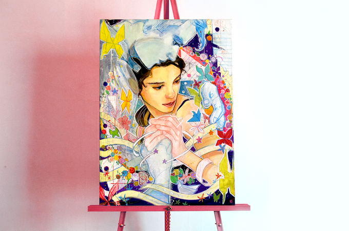 "Photograph of Julius Bautista's first painting for the collaboration, ""Paper Queen"""