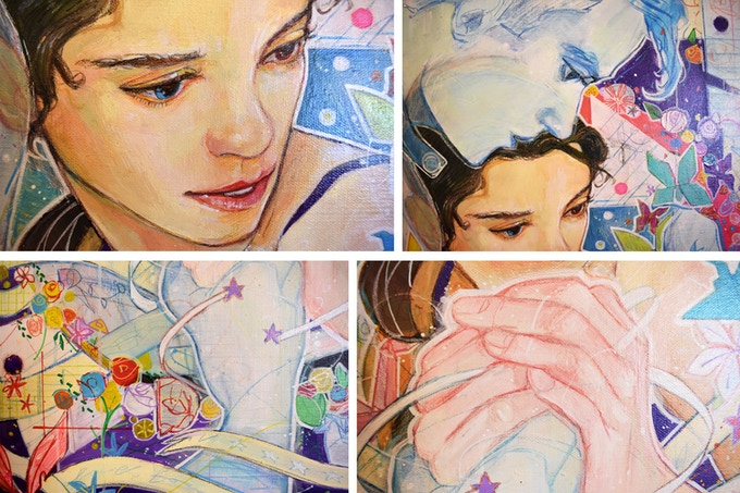 "Close-up details of the painting, ""Paper Queen"""