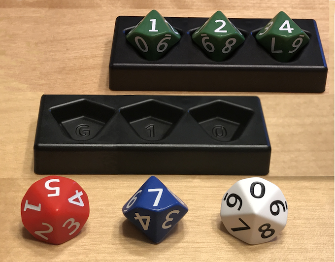 Pictured: One 0-999 set with 3 same colored dice  & One 0-999 set with 3 different colored dice
