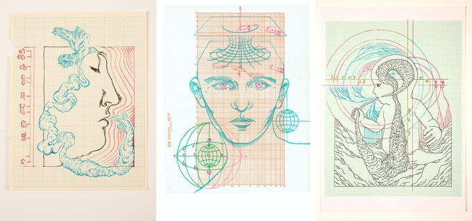 3 of the original drawings from the book - brush and ink on antique graph paper.