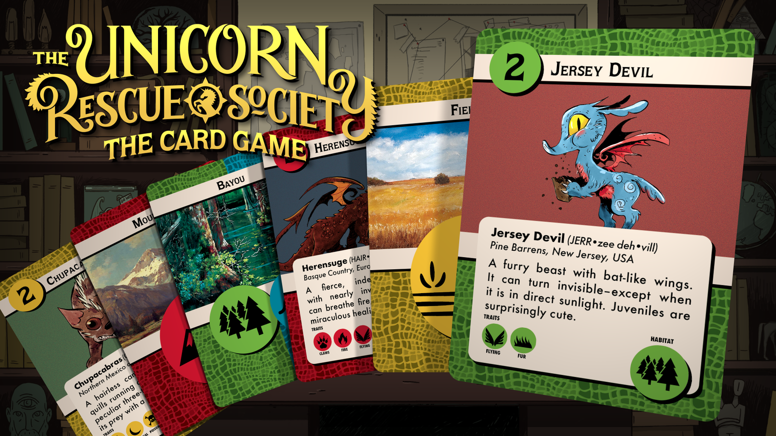 "A fast-paced card game about rescuing mythical creatures.  Based on the hit kid's book series ""The Unicorn Rescue Society"""