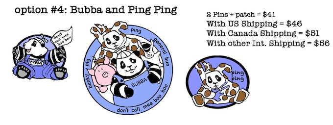 Bubba and  Ping Ping pins, and the patch!