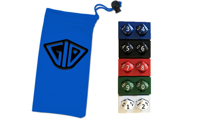 Pictured: Dice Bag (Stretch Goal) & 1 set of G10: 0-99 Life Counters (click to view photos on Etsy)