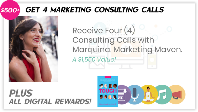 "Pledge $500 or more and select the ""Receive four (4) Consulting Calls with Marquina, Marketing Maven"" to receive the items above."