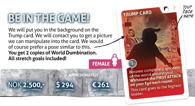 LIMITED. One EXCLUSIVE pledge only! The card is of course bigger than this illustration, so you will see the artwork much better on the actual card.