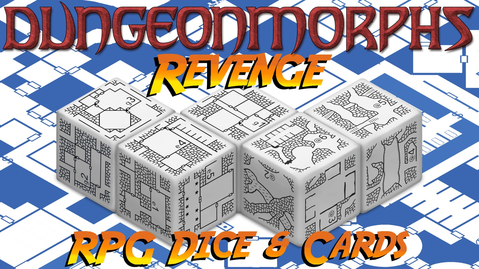 More sets of DungeonMorph Dice - connectable mini-dungeon designs on dice. Plus matching cards, battlemat-style PDFs, and more.