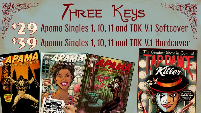 Includes Three Key Single Issues: Apama #1 (Origin of Apama) Apama #10 & 11 (Full Origin of Tap Dance Killer.) There is also an option to swap out the TDK softcover for Tap Dance Killer single issue variants 1,2,3,4, & 5.