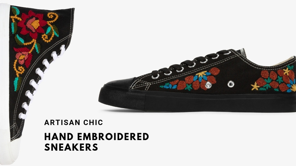 Fairtrade, Vegan, Ethically made, hand embroidered sneakers project video thumbnail