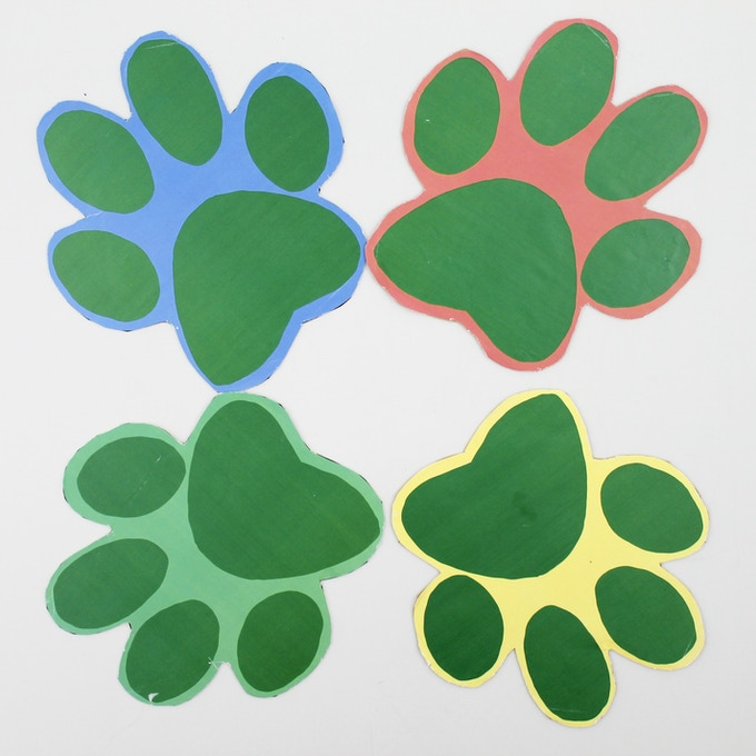 4x Paw side boards. (Red, Yellow, Blue & Green)