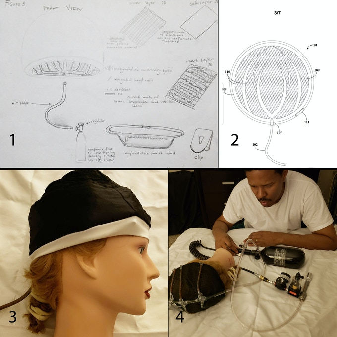 1. First drawings of the Fitness cap with materials  2. Drawing of network of inner duct work  3. First Prototype design of the Fitness Cap (original)  4. Second Prototype of the Fitness Cap (Original) with system