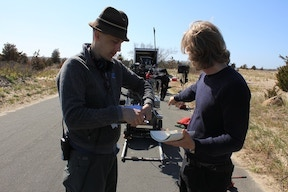 "Vinz Feller on set of ""Montauk"" with cinematographer Martin Ahlgren"