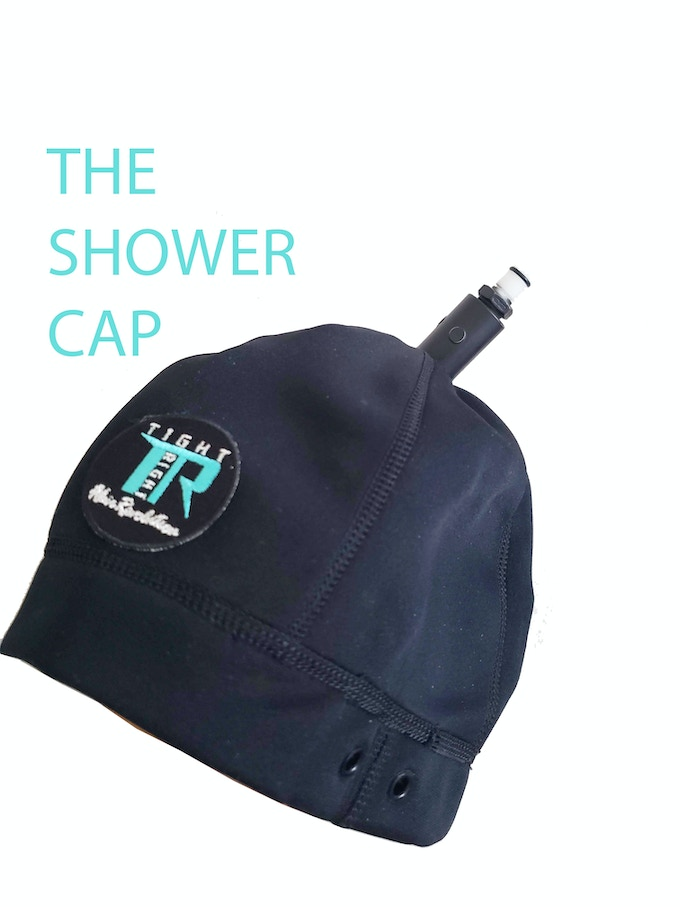 The Shower Cap - for shower and bathtub use only - to keep hair from humidity that causes frizz and reverting while in shower/tub.  Made of waterproof material - not meant to be submerged.  The shower cap has a 360 degree turn radius attachment giving you the flexibility to move around freely.