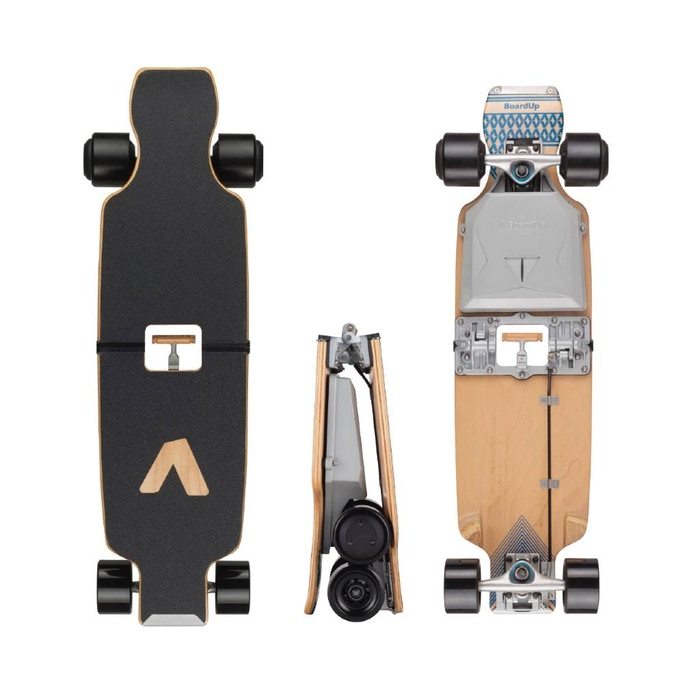 BoardUp® is the fully-funded foldable longboard that fits in your backpack, holds up to 400 pounds, doesn't fold up while riding, and pops up with a kick of the nose.