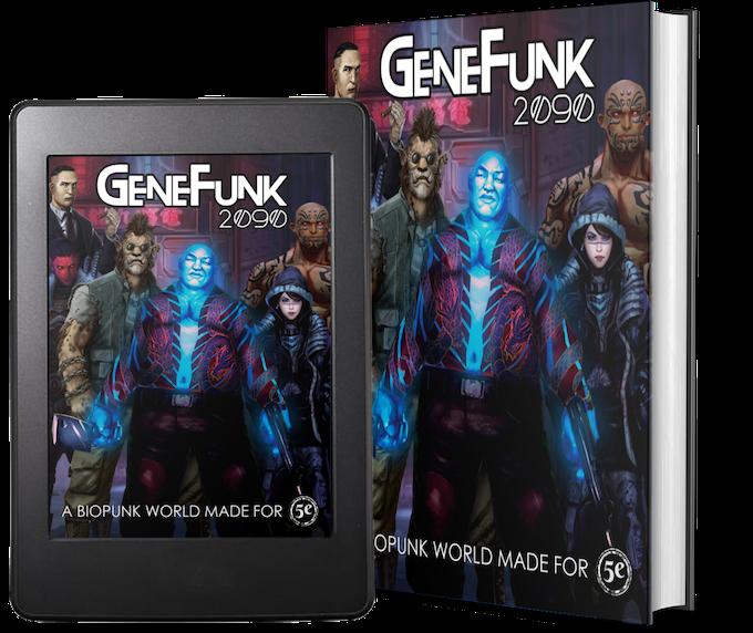 GeneFunk 2090 comes as color PDF, or premium color hardcover book!