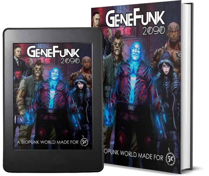 GeneFunk 2090 comes as color PDF, or premium color hardcover book!