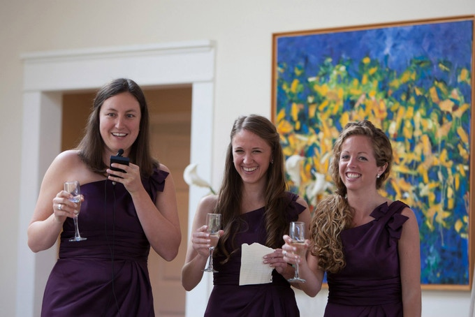 Giving a joint toast at our dear friend's wedding in 2013. We love you, Lauren!