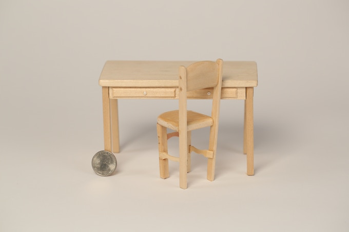 Props from the film: i.e. miniature desk and chair!