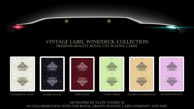 Image sample of the card backing designs for the 'Traditionally Pressed' Vintage Label Wine/Deck Collection (Coming soon to Kickstarter)