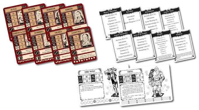 24 orc fighter cards, 24 wizard cards, 24 skill cards, 60 creature cards, 4 characters from Four Perilous Journeys, and 9 octopus fighter cards.