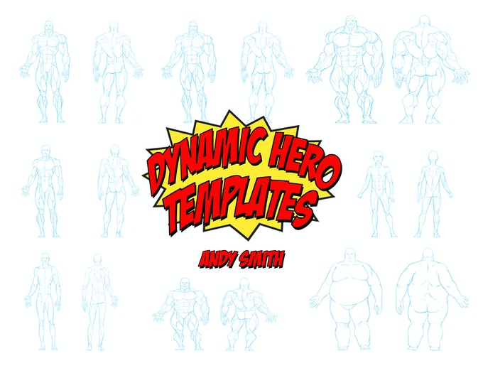 The body types in the book, each figure type is replicated three times for you to design over.