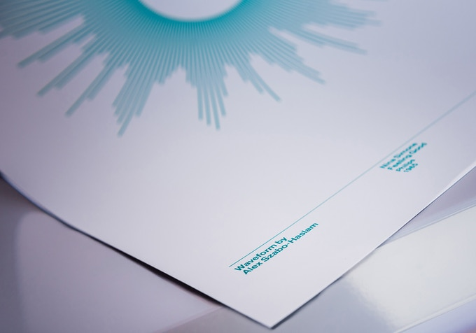 OUTLINE — the Waveform and text are printed in colour onto a white background, giving a minimal feel