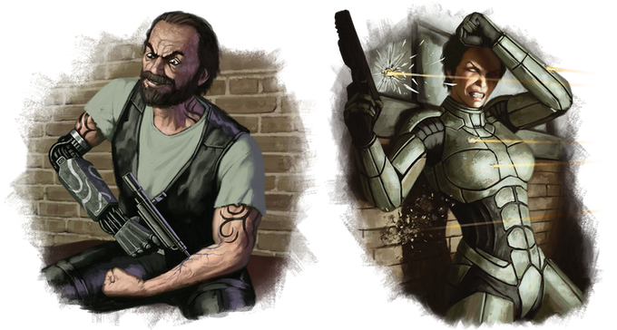 A biker injecting some Nootro to gain an edge (left), and a Ronin Soldier happy to be wearing an Atomos™ Battlesuit (right)!