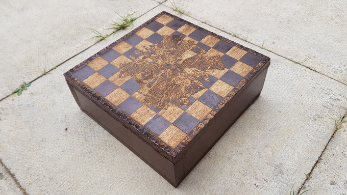 View of the top of the board with all pieces stowed inside