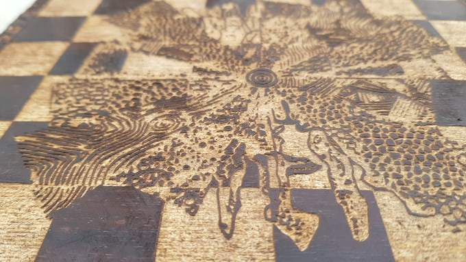 Detailed view of the laser engraved board surface