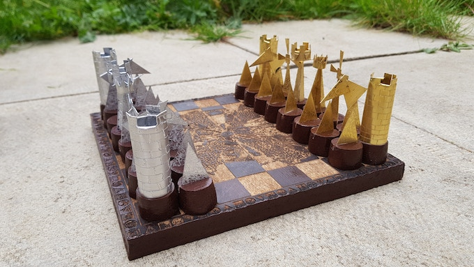 View of the pieces arranged ready for a game to start