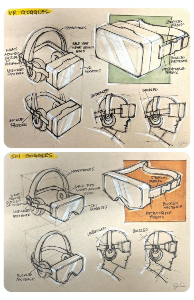 First round sketches of VR/Ski goggles