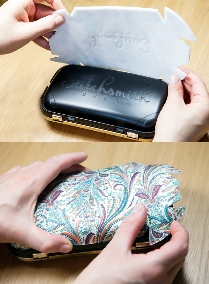 Wrap a different fabric cover around your clutch then re-attach the metal outer frame and clasp