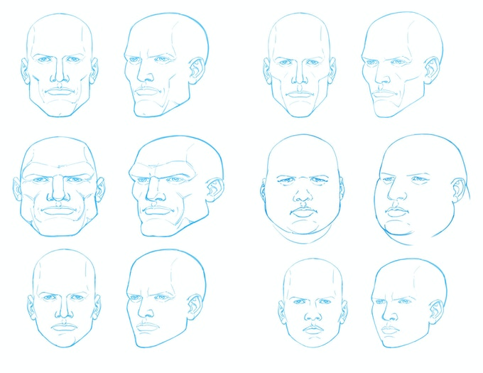 A variety of heads to design details over of your character! Each is replicated three times in the book!