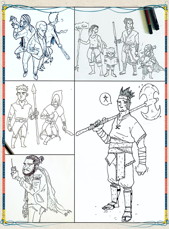 These character sketches are just a few examples of what the character design will look like throughout the London Masters Guide.