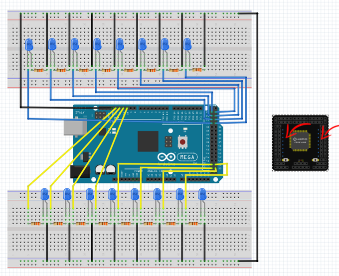Have you ever felt the need to just use LEDs as debug, or to make an entire cool program based on them? On HeroCore you got 8x2 blue tiny beautiful LEDs. And you can still use every pin they are attached to!