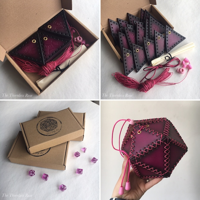 Love Potion Pink D20 Spindown kit box, and built blank faced kit.