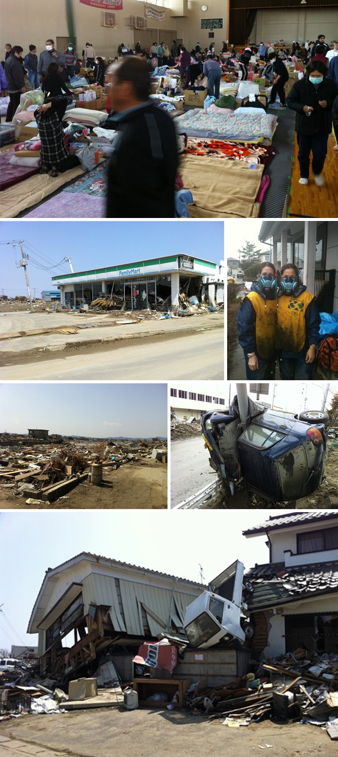 Clockwise from the top: Shelter with families each allotted about 4 square meters; pictured at right, co-founder, Teresa West, in Higashimatsushima; car wrapped around pole by tsunami; Wataricho homes in shambles; Neighborhood stripped to the foundations; Ishinomaki convenience store filled with tsunami debris.