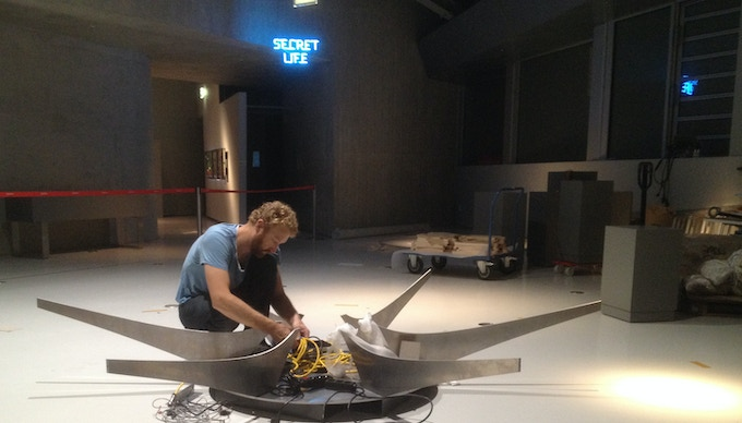 Micah assembling a large scale Sisyphus installation at Phaeno, in Wolfsburg, Germany, 2015.