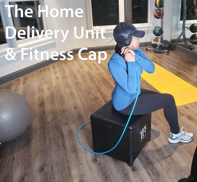 The Home Delivery Unit - can be used with Fitness Cap (Original), Pineapple Cap & Shower Cap and is equipped with retractable hose for flexible use up to 20 ft and wheels for ease of relocation. Intended for Home use.