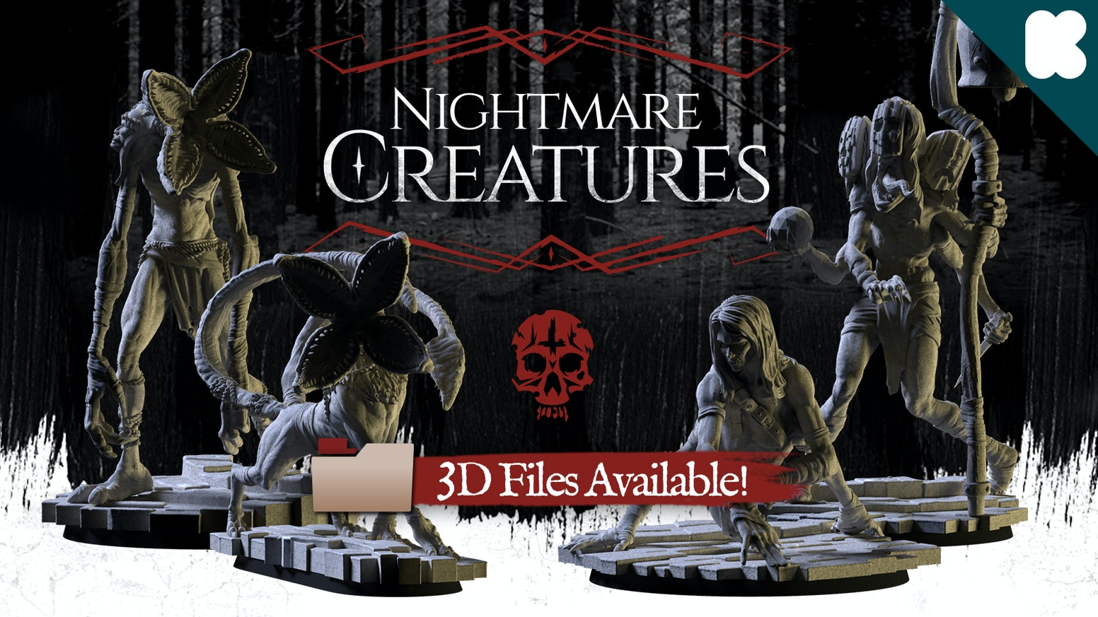 Nightmare Creatures consists in a set of 4 miniatures made with high quality resin, inspired in our deeper terrors.