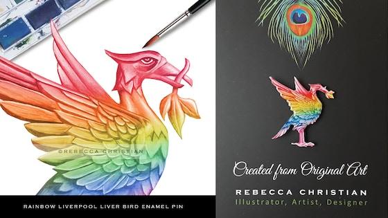 Track Rainbow Liverpool Liver Bird Enamel Pin - LGBTQ's Kickstarter