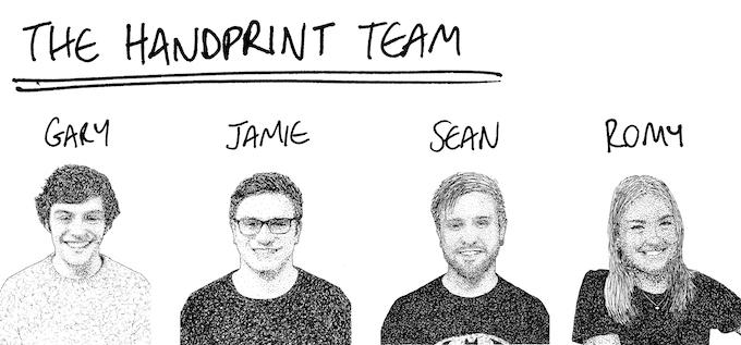 Gary & Jamie (Co-Founders), Sean (Developer) & Romy (Marketing) - Portraits by SCR1BBLE