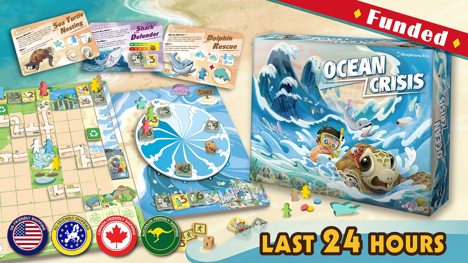 A cooperative worker placement game where players have to unite to save the ocean.