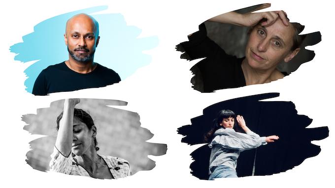 First column: Akram Khan and Mythili Prakash; Second column: Anne Teresa De Keersmaeker and Georgia Vardarou