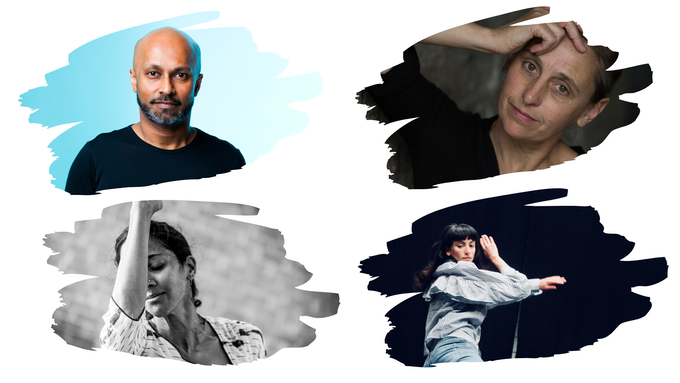 First column: Akram Khan and Mythili Prakash; Second column: Anne Teresa De Keersmaeker and Georgia Vardarou