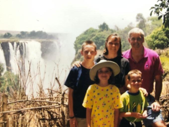 """My family visiting """"Mosi-oa-Tunya"""" (1997)"""