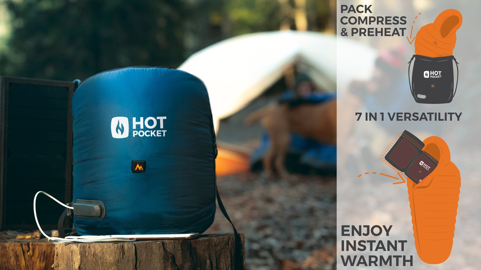 Introducing the world's first heated stuff sack that warms you AND your gear!