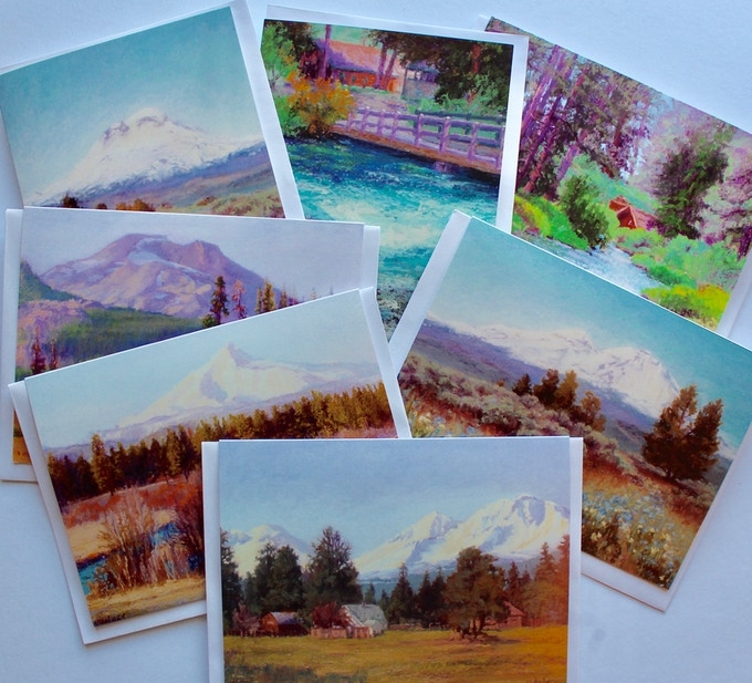 """7 Greeting Cards 4.5 x 6 with envelopes. Images of paintings in book """"Land Escapes"""""""